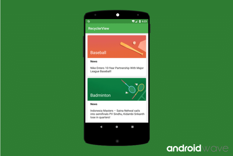 recyclerview example in android